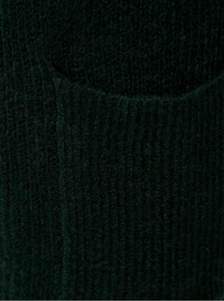 Tmavě zelený dlouhý kardigan s příměsí vlny Noisy May