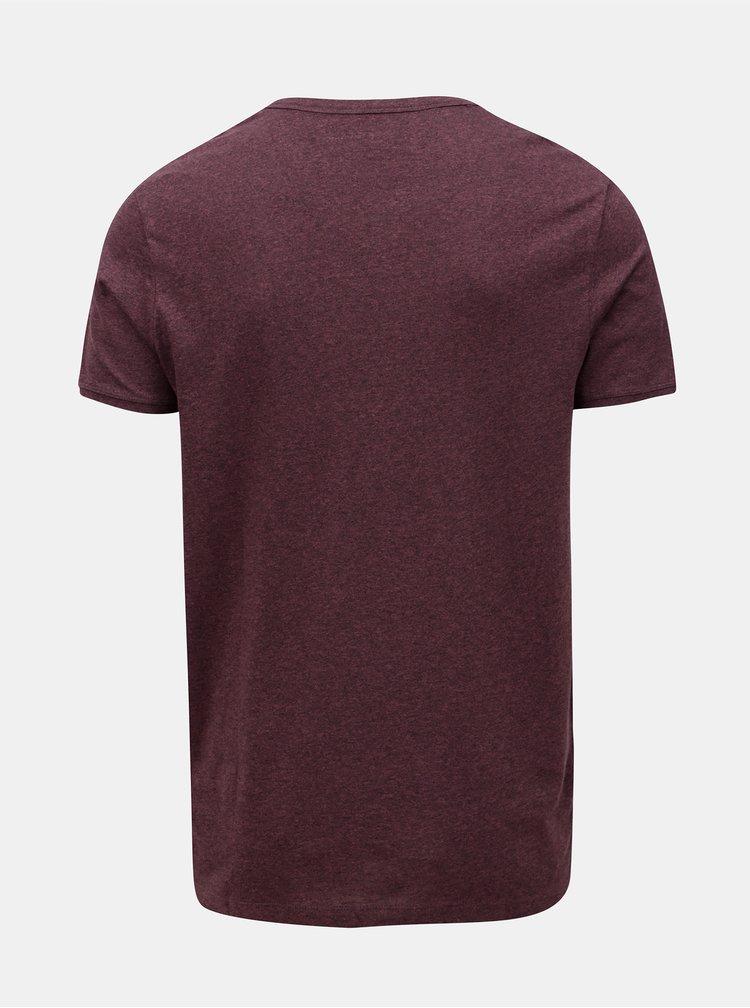 Vínové žíhané tričko s krátkým rukávem Jack & Jones Ranco Tee