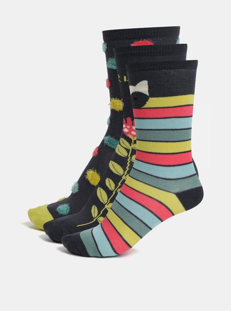 Sada tří párů holčičích ponožek v tmavě šedé barvě BÓBOLI