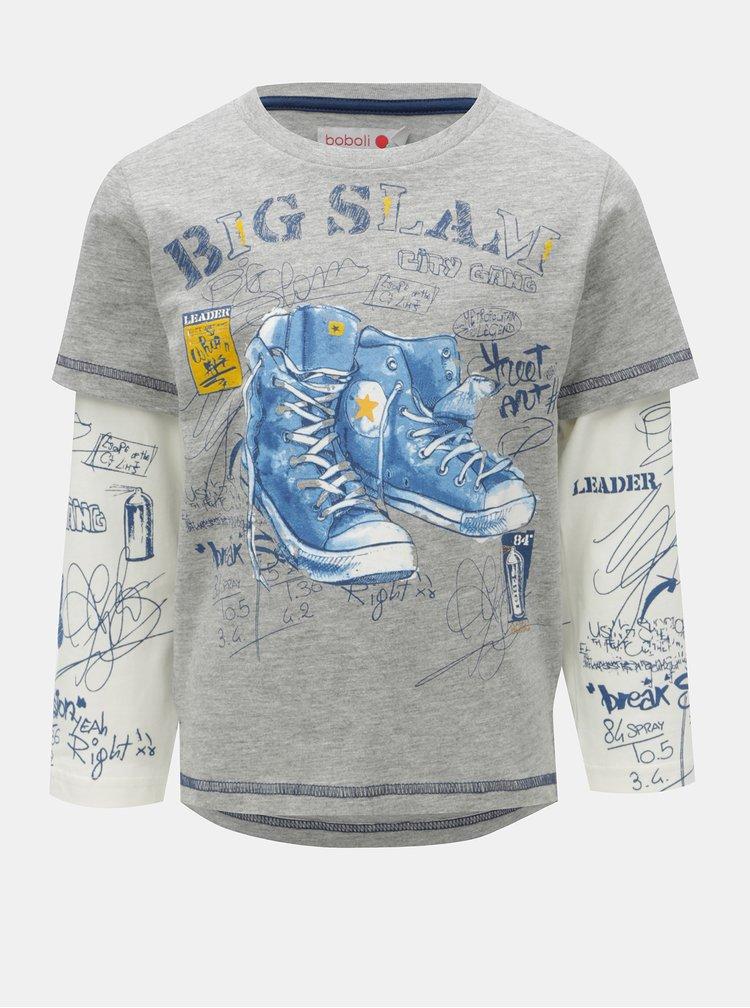 Bílo-šedé klučičí tričko s potiskem bot BÓBOLI