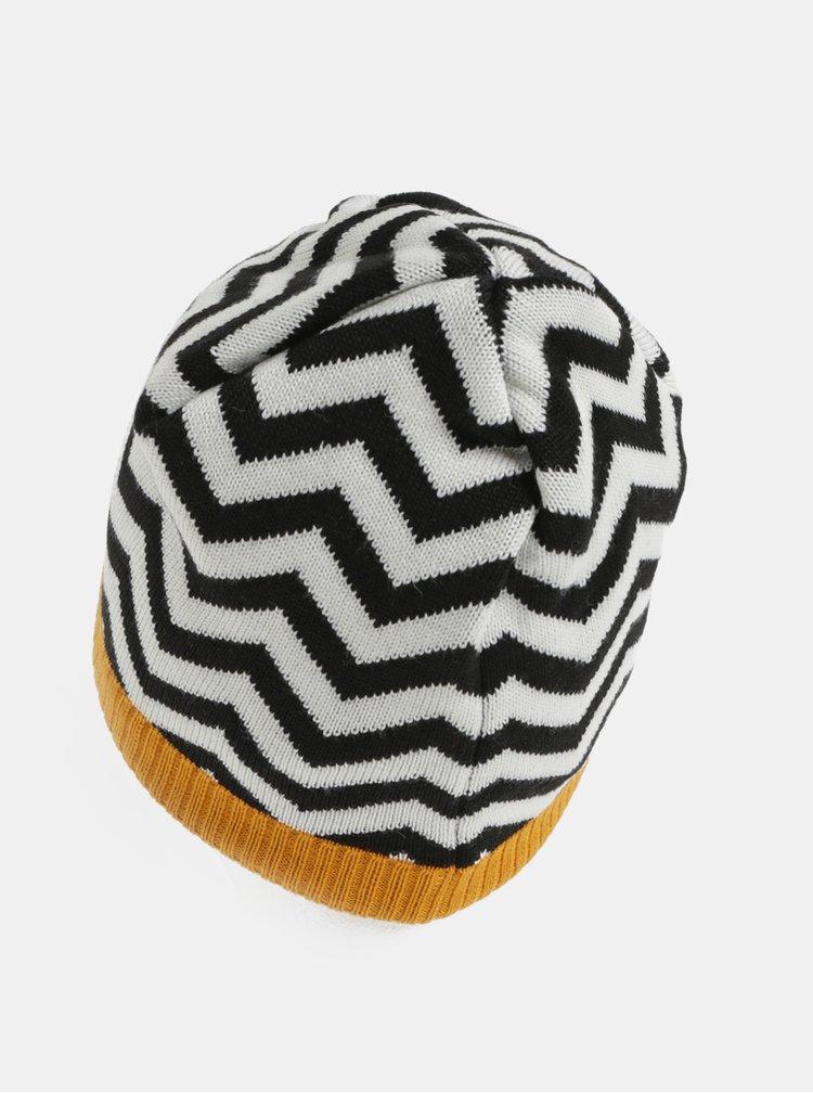 Bílo-černá vlněná vzorovaná čepice Reima Kolmio