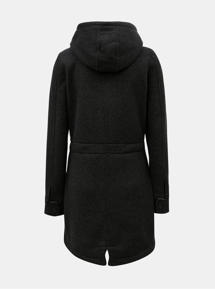 Tmavě šedý dámský žíhaný kabát s velkou kapucí killtec