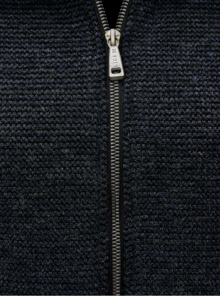 Tmavě šedý dámský žíhaný kabát s rolákem killtec