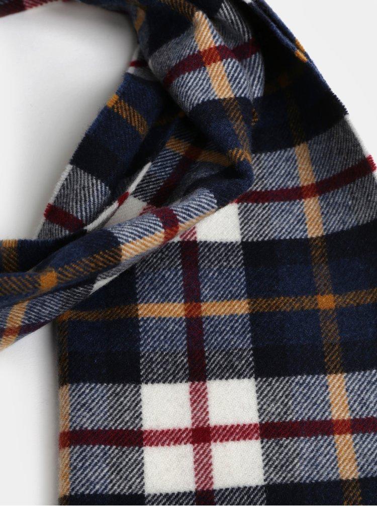 Bielo-modrý pánsky kockovaný vlnený šál so strapcami GANT
