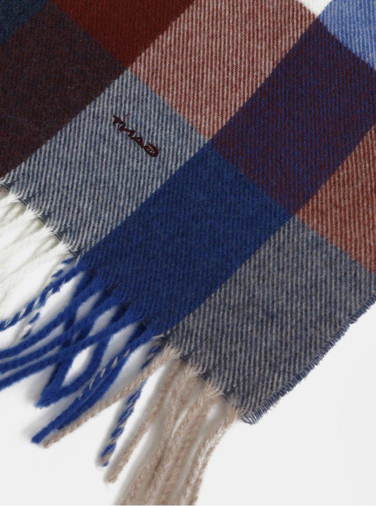 Hnědo-modrá pánská kostkovaná vlněná šála s třásněmi GANT