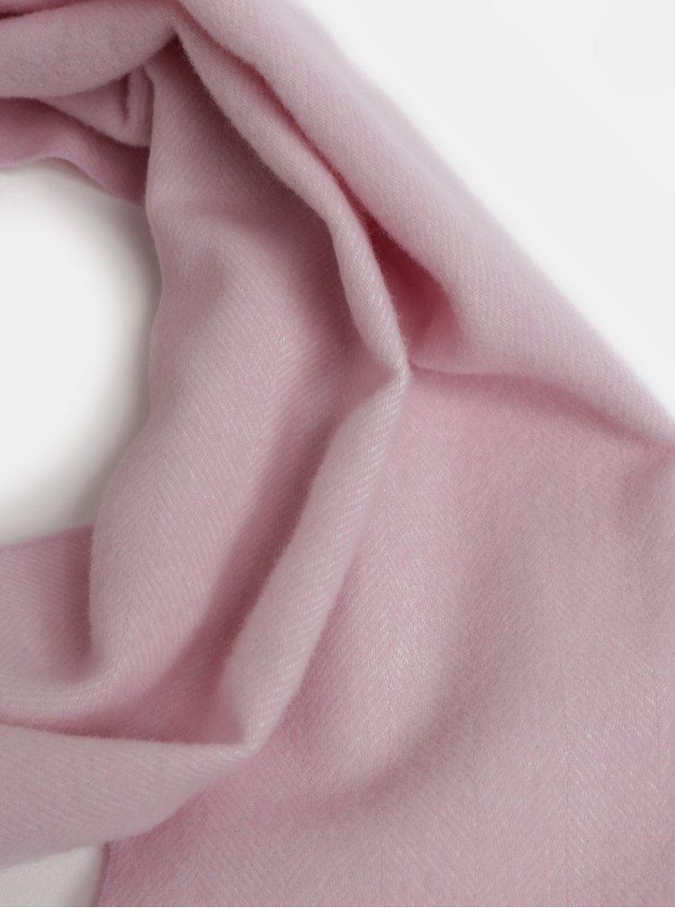 Světle růžová dámská vlněná šála s třásněmi GANT