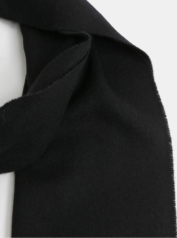 Černá pánská vlněná šála s třásněmi GANT