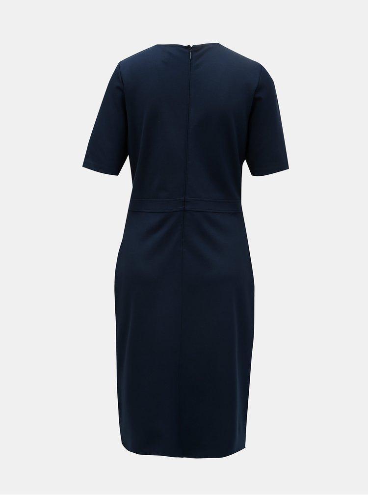 Tmavě modré pouzdrové šaty s krátkým rukávem GANT