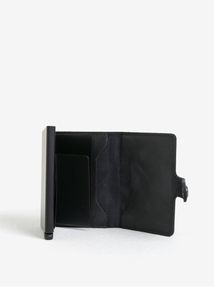 Černá kožená peněženka s hliníkovým pouzdrem s RFID Secrid Miniwallet