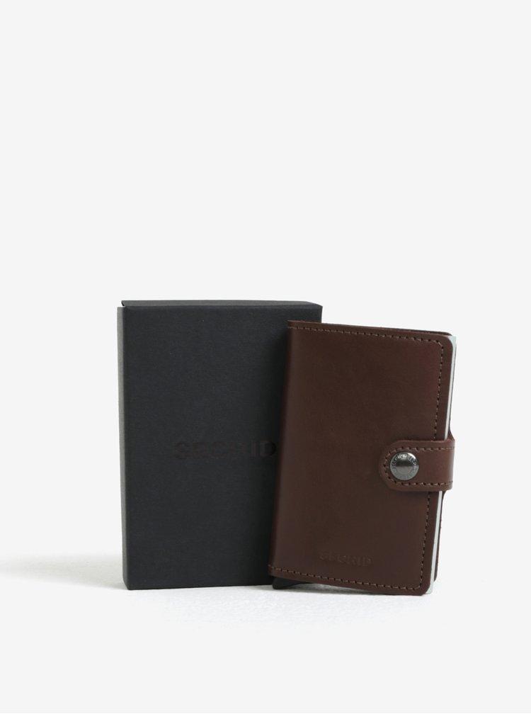 Tmavě hnědá pánská kožená peněženka s hliníkovým pouzdrem s RFID Secrid Miniwallet