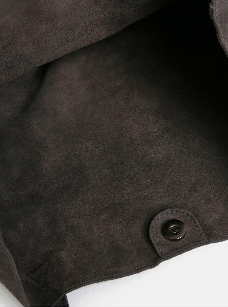 Tmavě šedý semišový shopper WOOX