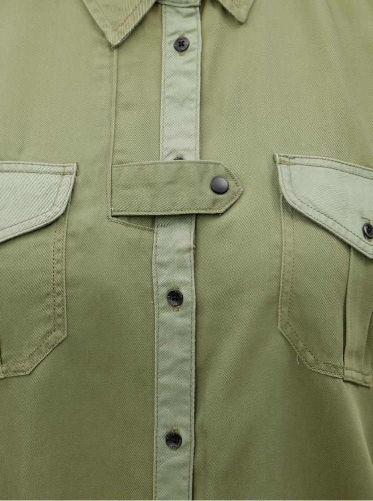 Khaki košilové šaty se stahováním v pase na zavazování Scotch & Soda