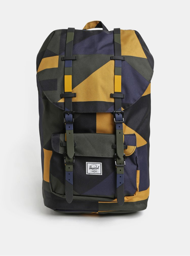 Hořčicovo-černý vzorovaný batoh Herschel Little America 25 l