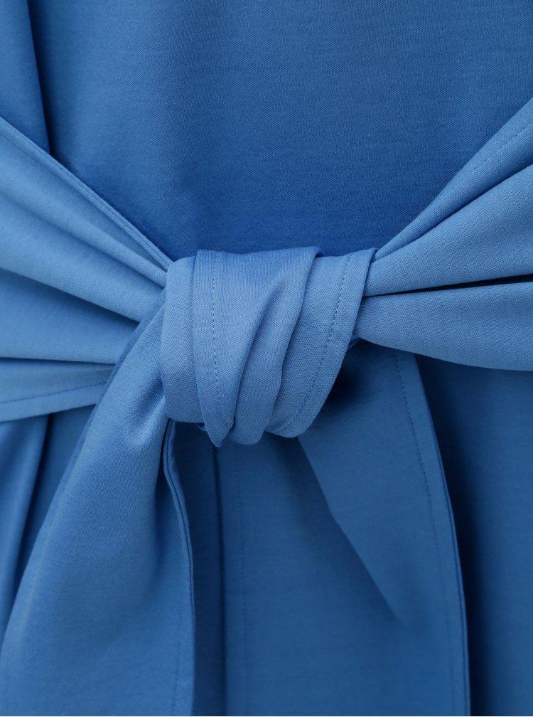 Modré šaty s volány a zavazováním v pase Scotch & Soda