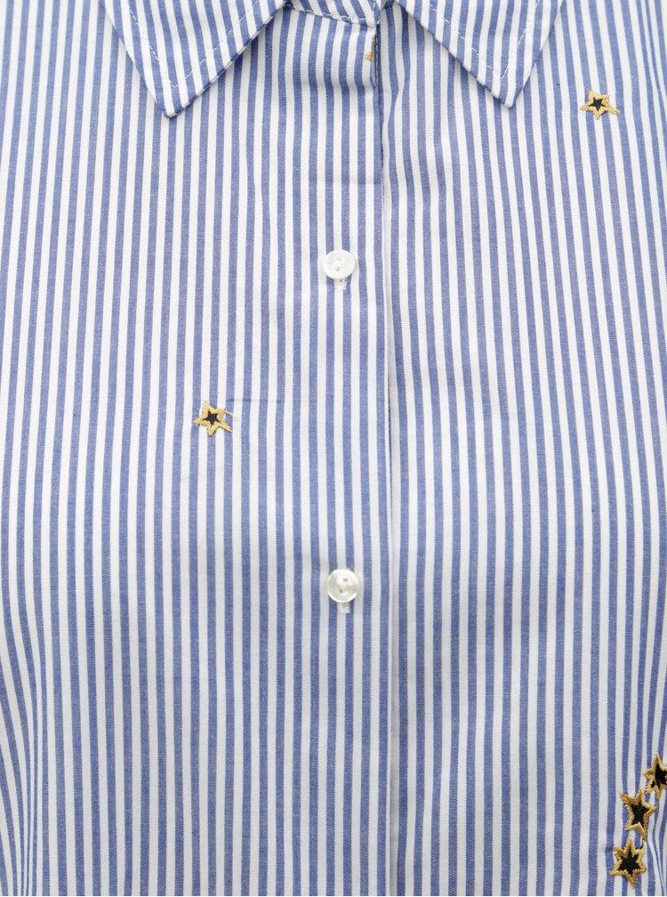 Camasa alb-albastru in dungi cu broderie Scotch & Soda