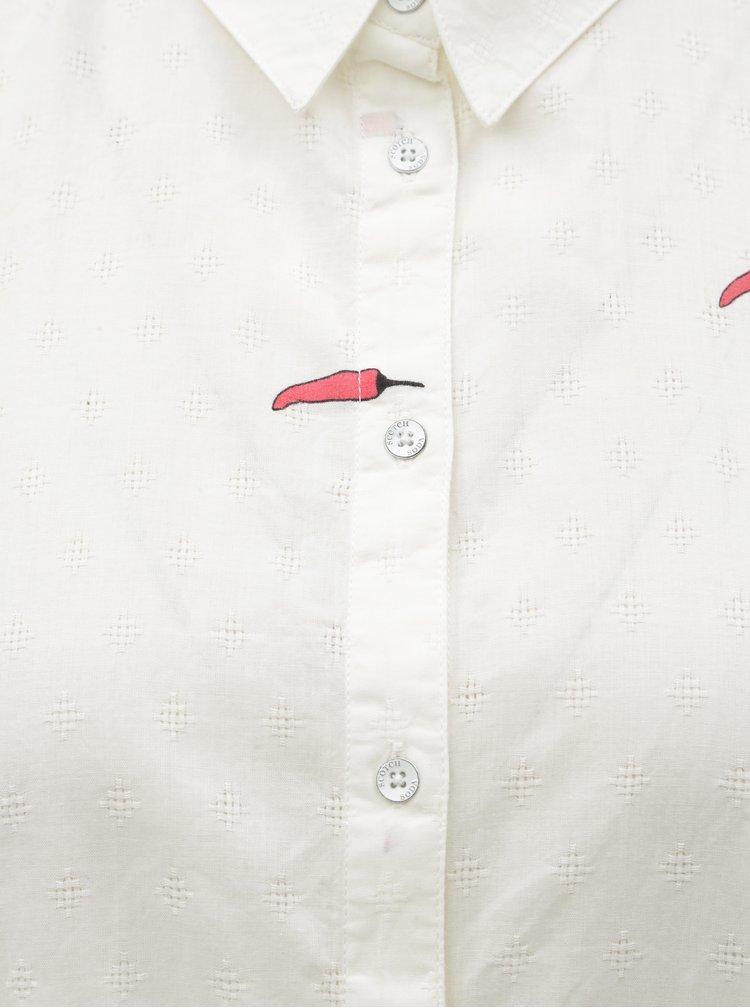 Biela košeľa s potlačou Scotch & Soda