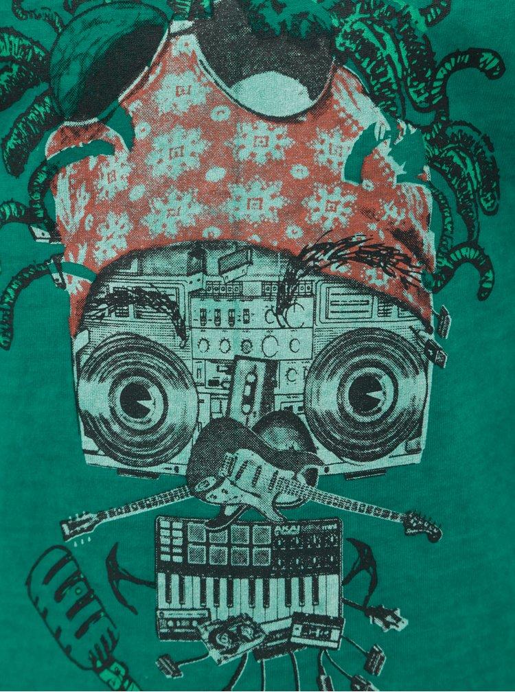 Tmavě zelené klučičí tričko s potiskem robota BÓBOLI