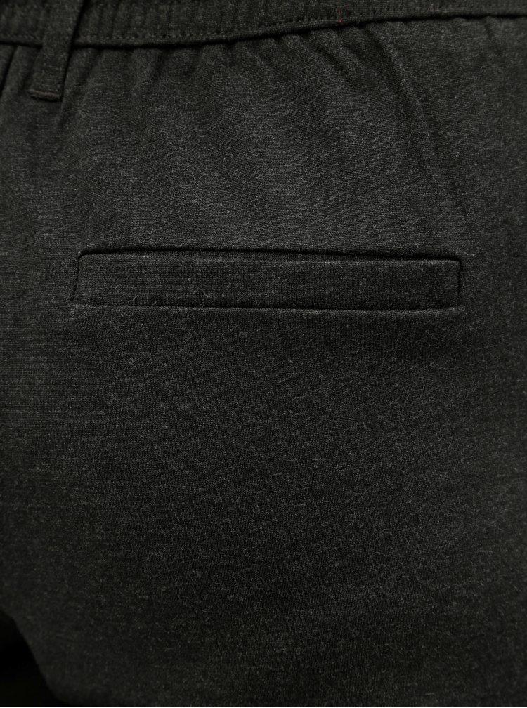 Tmavě šedé žíhané zkrácené kalhoty s vysokým pasem Jacqueline de Yong Betty