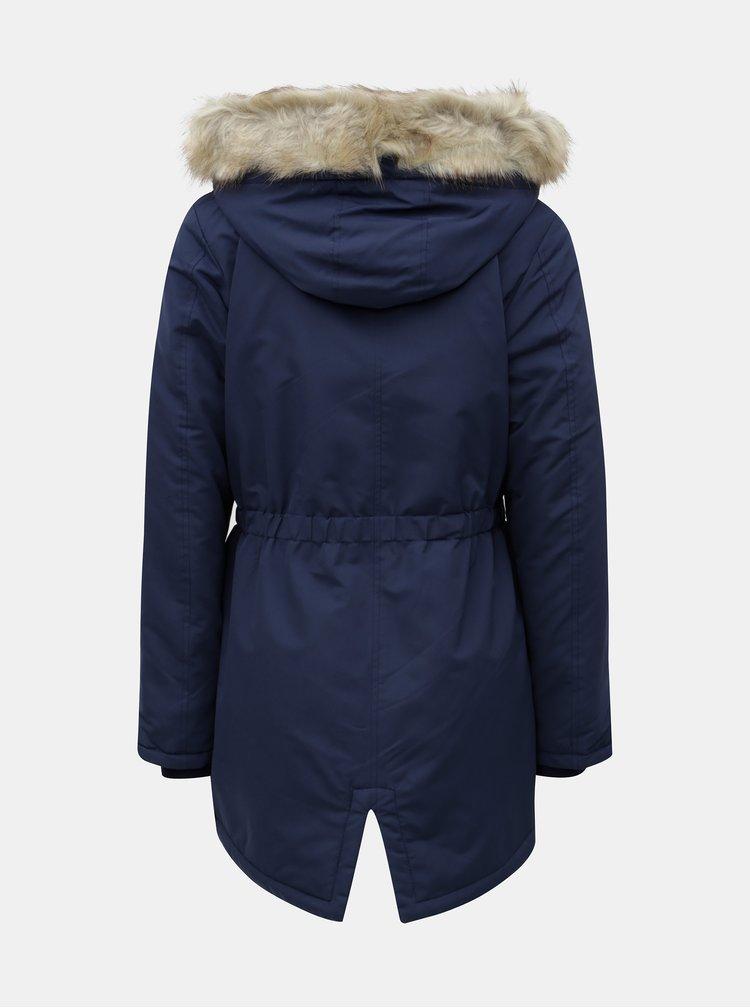 Tmavě modrá dlouhá zimní parka Jacqueline de Yong Star