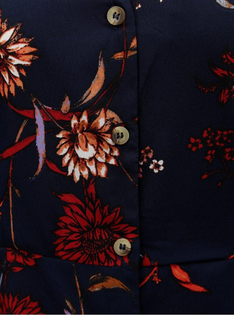 Tmavě modré květované šaty VERO MODA Gwen