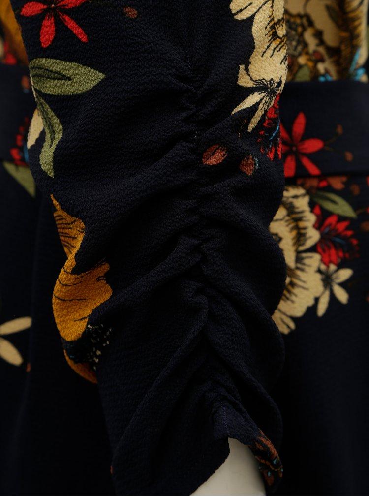 Hnědo-modré květované šaty Jacqueline de Yong New