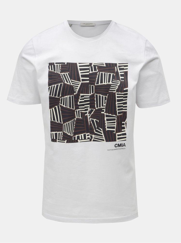 Bílé tričko s potiskem Selected Homme Grace
