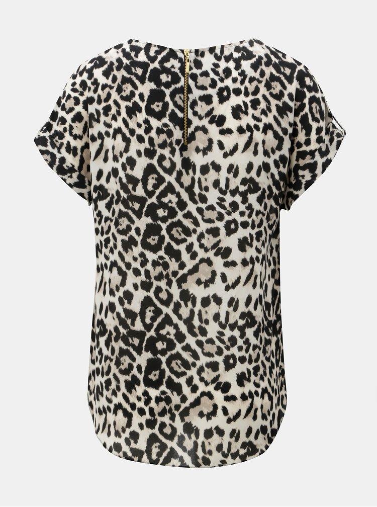 Černo-béžové tričko s leopardím vzorem a náprsní kapsou Dorothy Perkins
