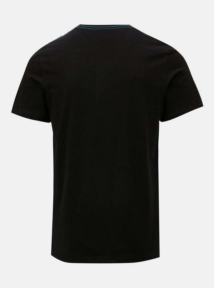 Čierne tričko s potlačou Jack & Jones Rio