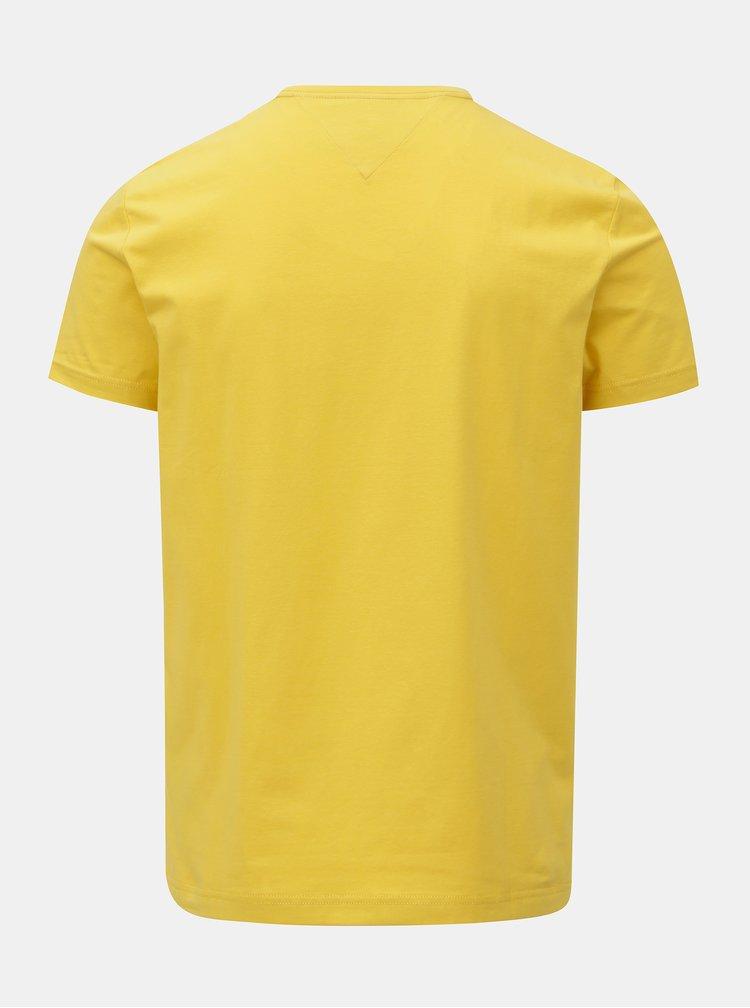Žluté pánské slim fit basic tričko Tommy Hilfiger Tee