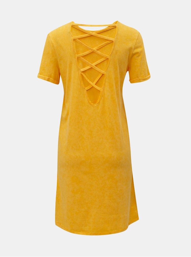 Žlté šaty s krátkym rukávom a šnurovaním na chrbte Noisy May