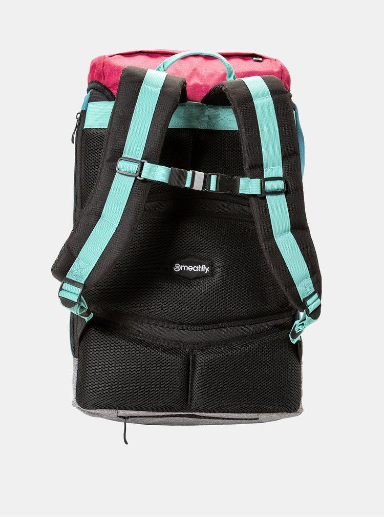 Tyrkysovo-růžový batoh s pláštěnkou Meatfly 26 l