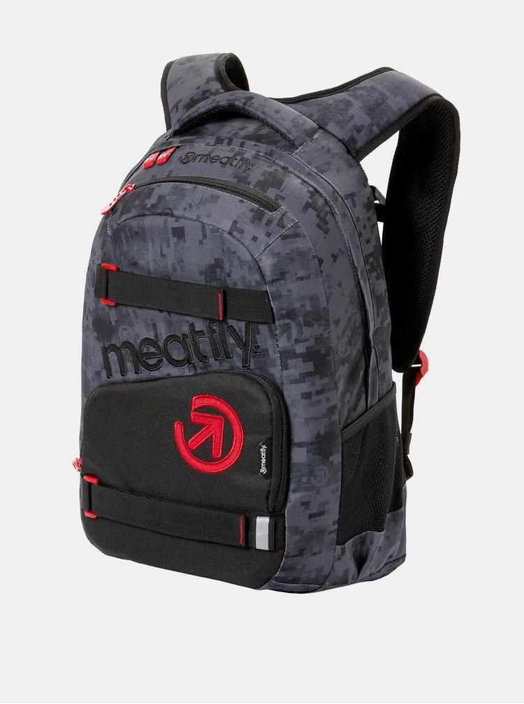 Tmavě šedý vzorovaný batoh s penálem 2v1 Meatfly 22 l