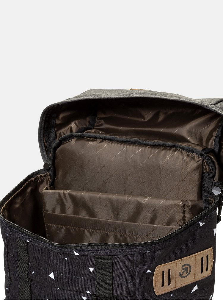Rucsac negru cu model si detalii din piele sintetica Meatfly 30 l