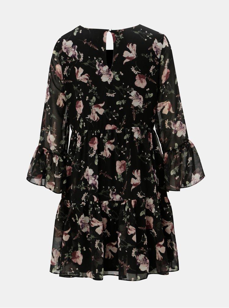Černé květované šaty s volány Apricot