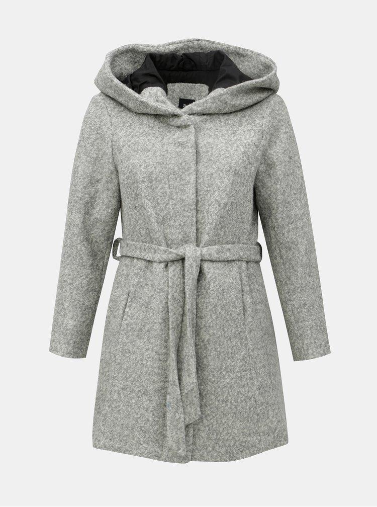 Světle šedý žíhaný kabát s příměsí vlny Zizzi Mditte