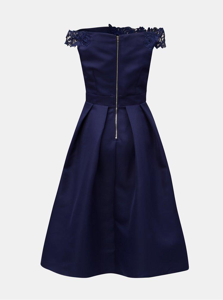 Tmavě modré šaty s krajkou a odhalenými rameny Little Mistress