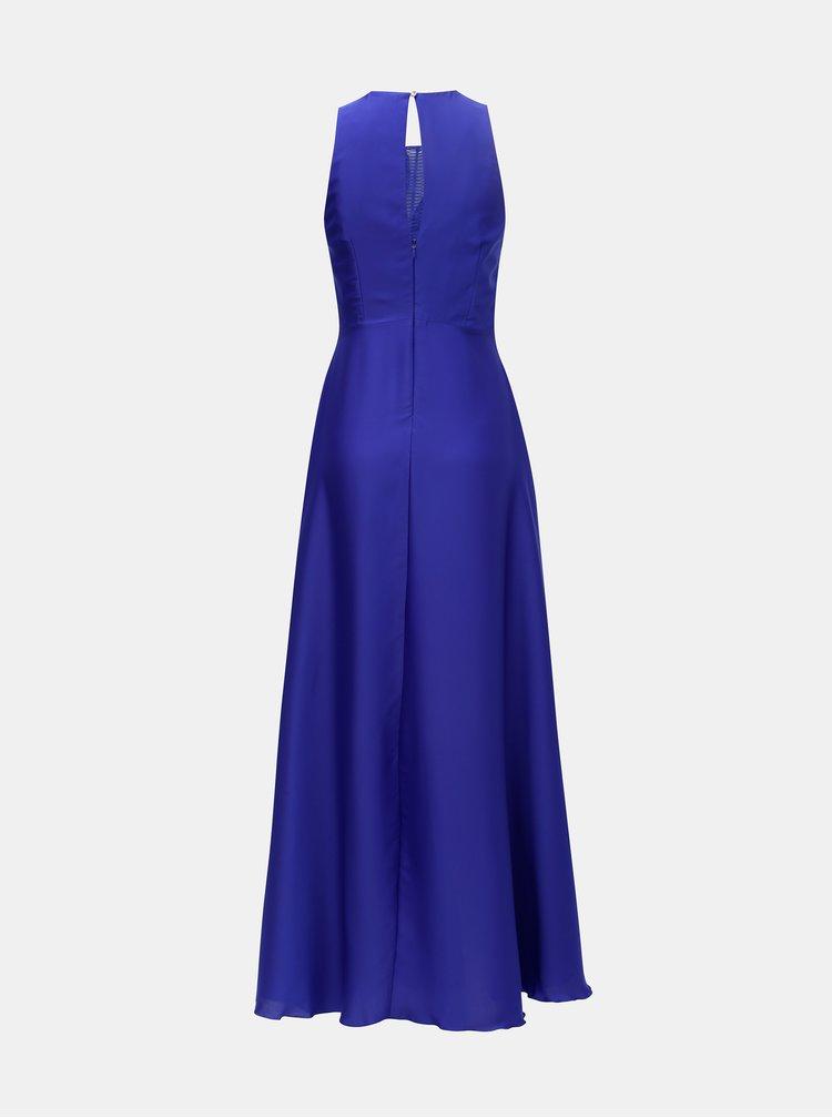 Modré maxišaty s plisovaným topem Little Mistress