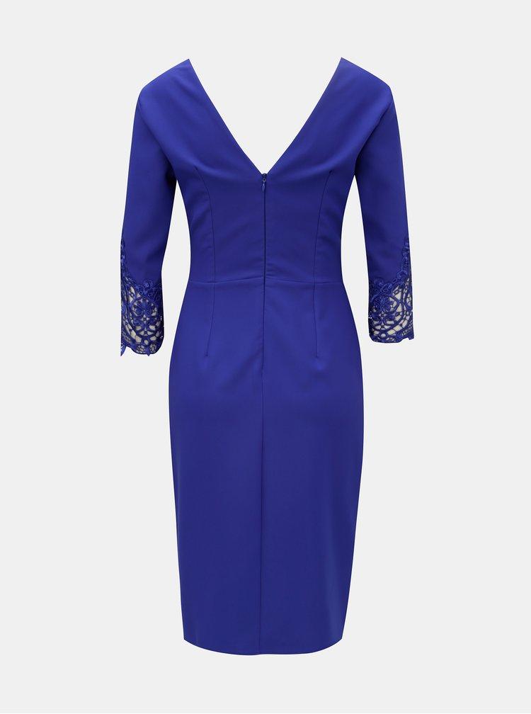 Modré pouzdrové šaty s krajkou Little Mistress