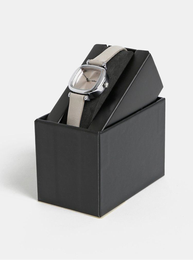 Dámské hodinky se světle šedým koženým páskem Komono Money Penny