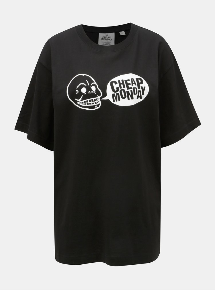 Tricou de dama negru oversize cu print Cheap Monday