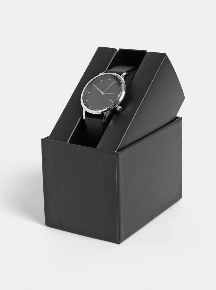 Dámské hodinky s černým koženým páskem Komono Lexi