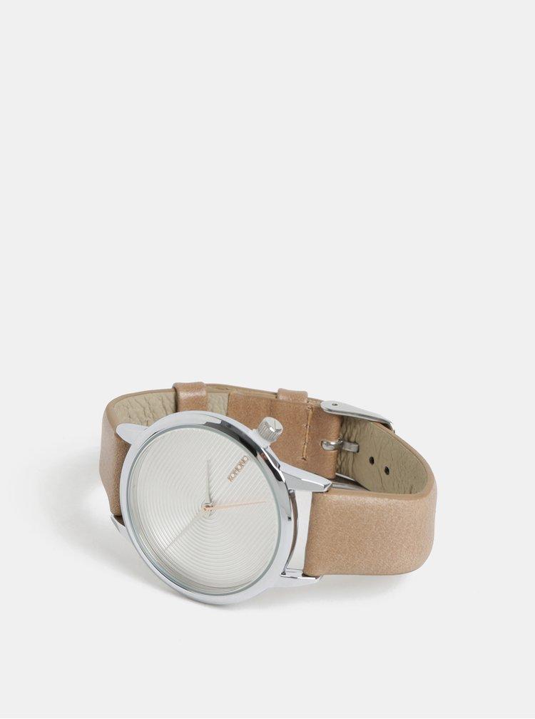 Ceas de dama cu curea bej din piele Komono Lexo Deco