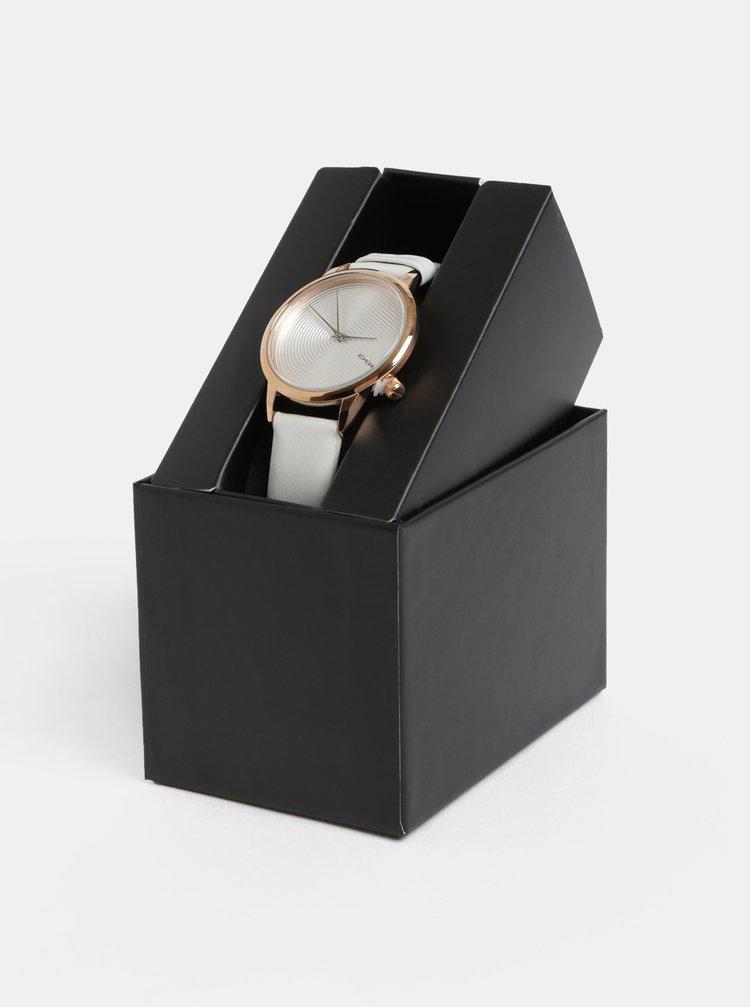 Dámske hodinky s bielym koženým remienkom Komono Lexi Deco