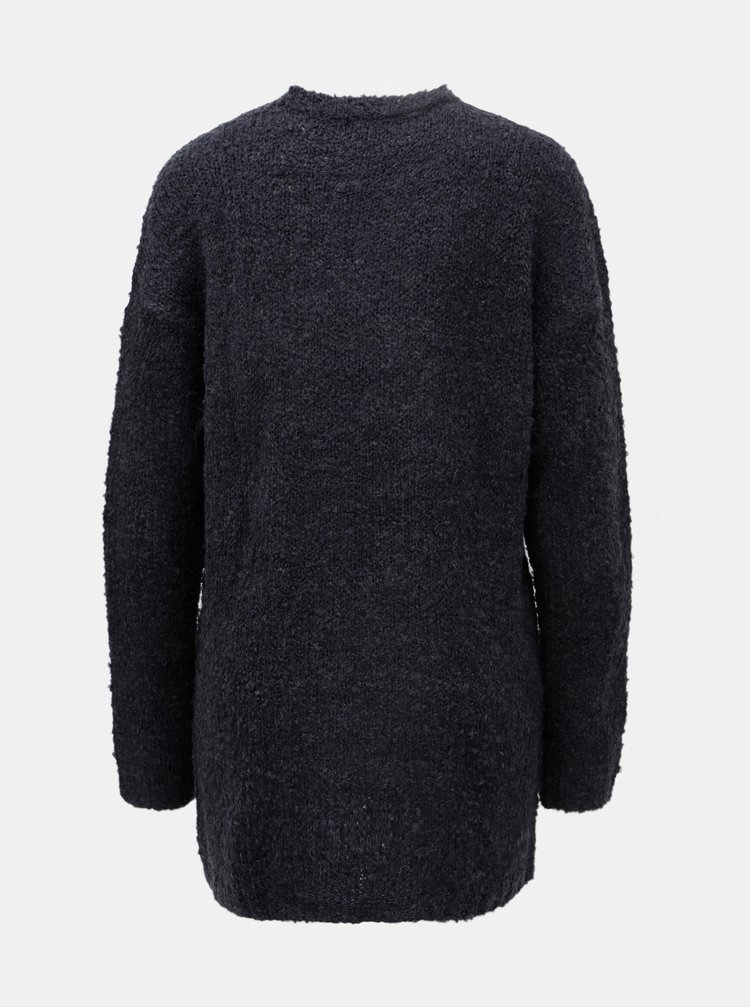 Cardigan albastru inchis cu buzunare si amestec de lana Jacqueline de Yong Delight