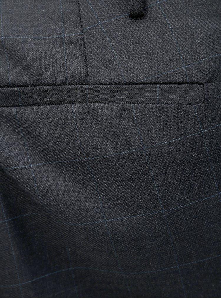 Tmavomodré skinny fit kockované nohavice s prímesou vlny Burton Menswear London