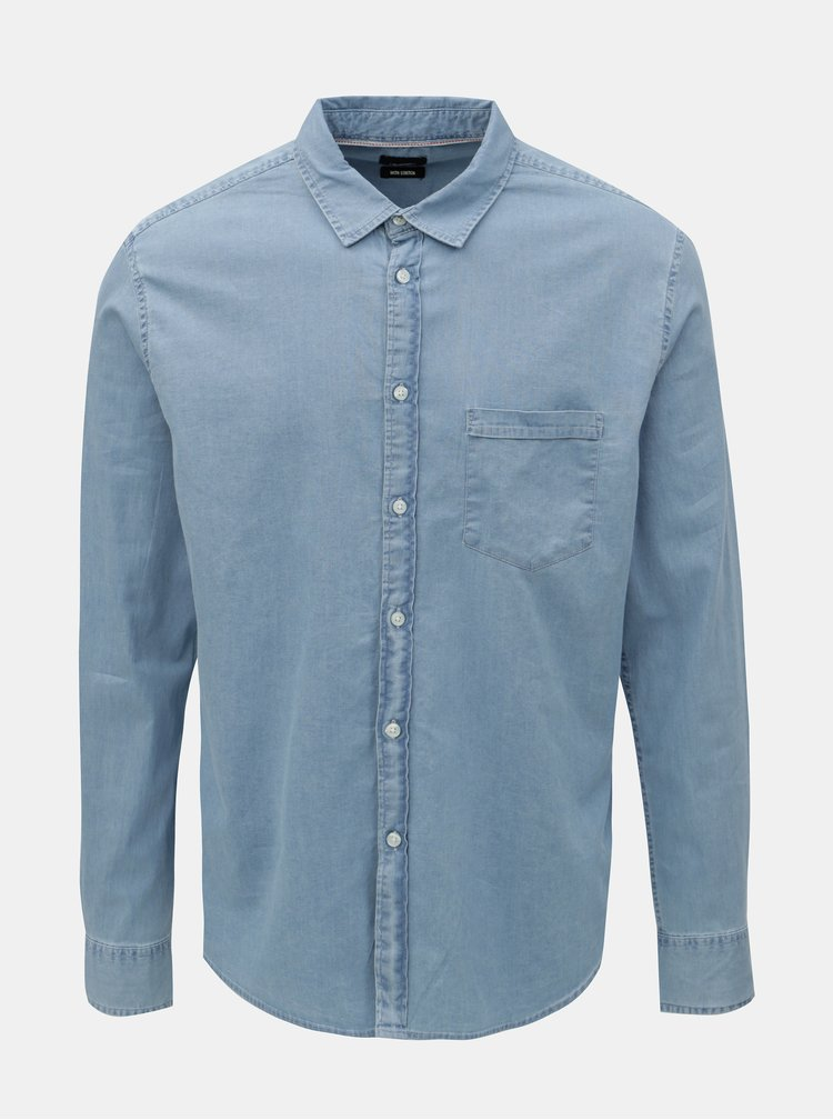 Camasa din denim albastru deschis Burton Menswear London