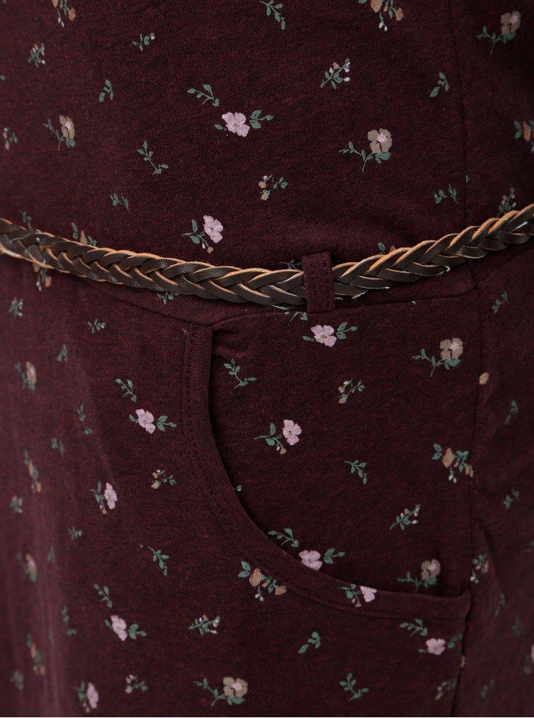 Vínové vzorované šaty s opaskom Ragwear