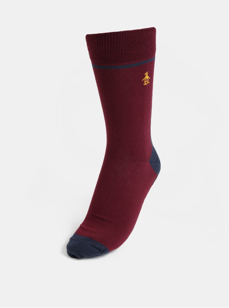 Súprava dvoch párov ponožiek v modrej a vínovej farbe Original Penguin