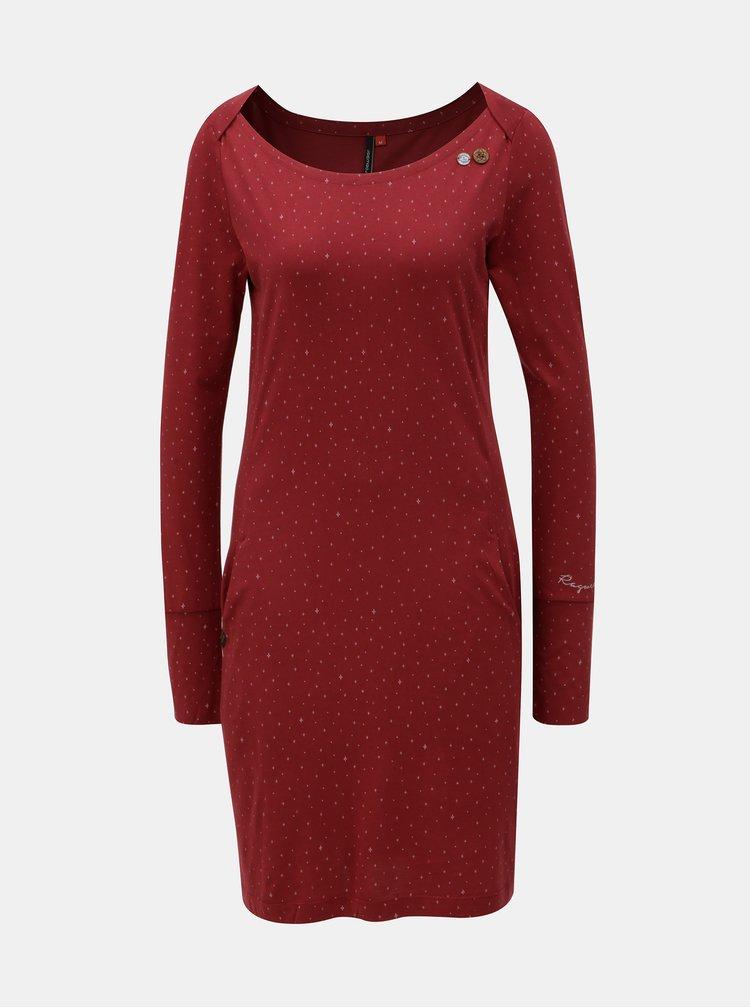 Vínové vzorované šaty s kapsami Ragwear River