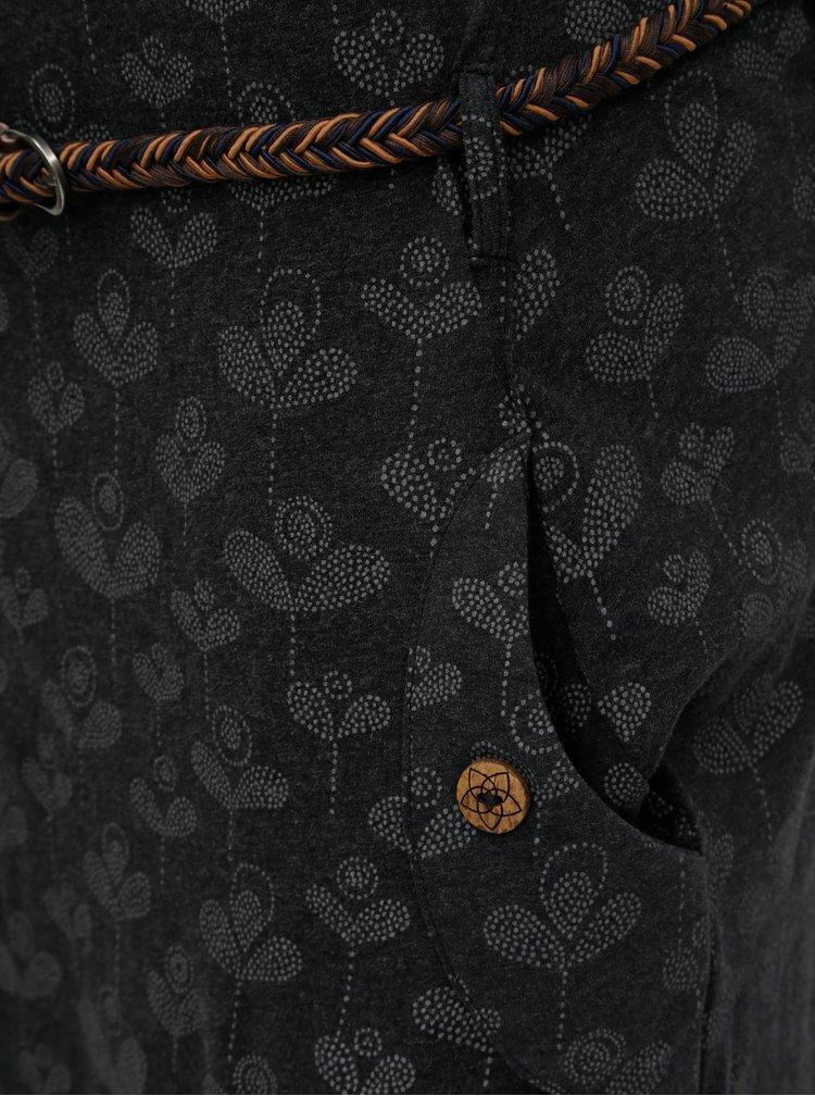 Šedé vzorované šaty s páskem a kapsami Ragwear Tanya